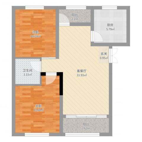 城市假日花园2室2厅1卫1厨74.00㎡户型图