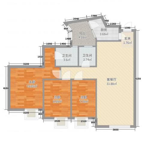 国美第一城3室2厅2卫1厨115.00㎡户型图