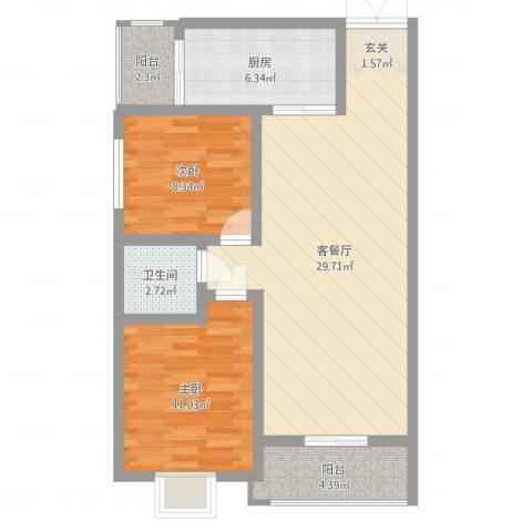 利安东庭2室2厅1卫1厨81.00㎡户型图