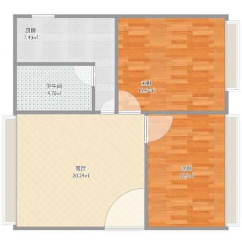 亲仁路2室1厅1卫1厨79.00㎡户型图