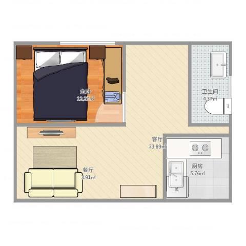 盛世天地1室1厅1卫1厨62.00㎡户型图