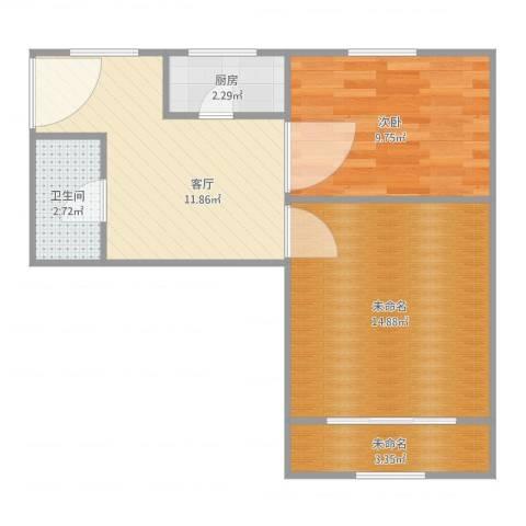 宜川六村1室1厅1卫1厨61.00㎡户型图