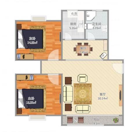 和源祥邸珑庭2室2厅1卫1厨110.00㎡户型图