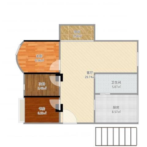 萝岗奥园广场3室1厅1卫1厨86.00㎡户型图