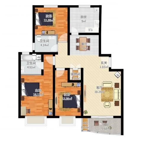 万邦都市花园3室1厅2卫1厨152.00㎡户型图