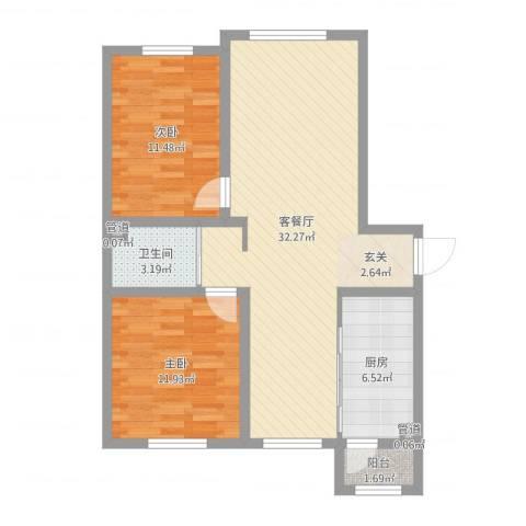 汉森华尔兹2室2厅3卫1厨84.00㎡户型图