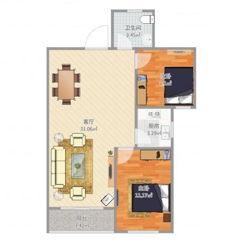 祥腾新领寓公寓2室1厅1卫1厨76.00㎡户型图