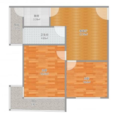 莫奈的花园2室2厅1卫1厨76.00㎡户型图