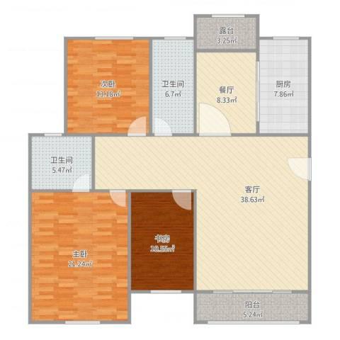 金丰蓝庭三期27号6023室2厅2卫1厨161.00㎡户型图