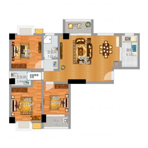 LAKE街区知音国际茶城3室2厅1卫1厨115.00㎡户型图