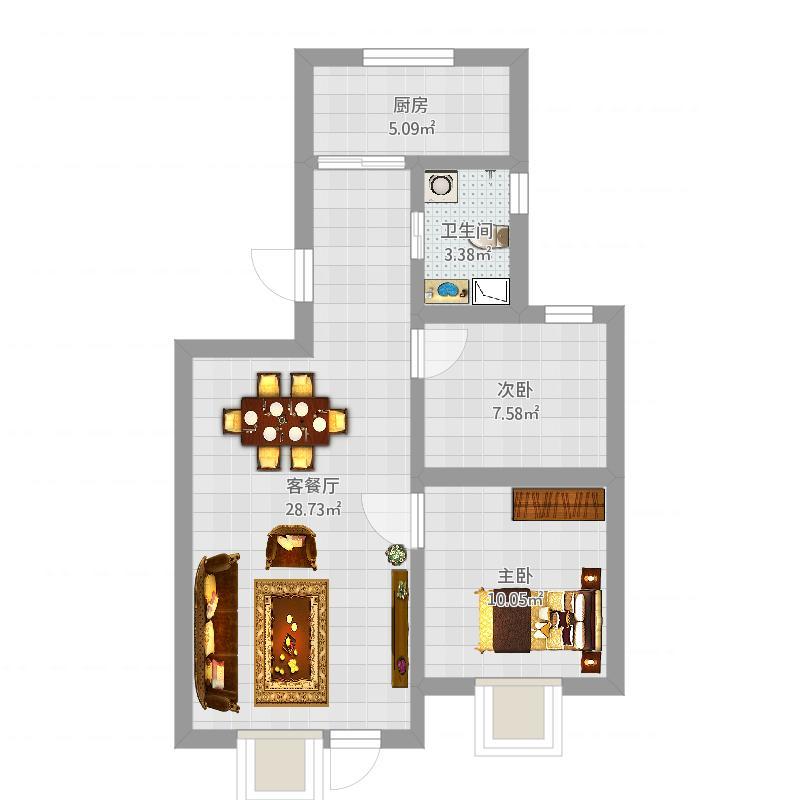 乌鲁木齐新天润蓝岸2室1厅84平
