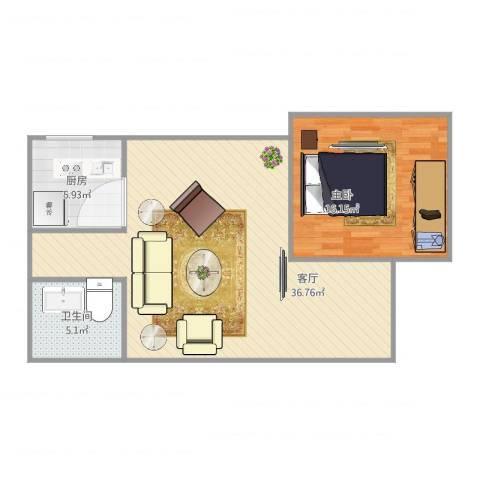 盛世天地1室1厅1卫1厨85.00㎡户型图