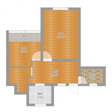 恒安小区2室2厅1卫1厨58.00㎡户型图