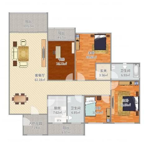 航天佳苑C14室2厅2卫1厨241.00㎡户型图