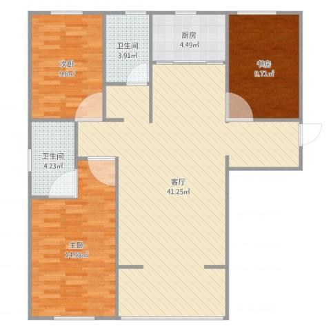 雅仕兰庭3室1厅2卫1厨110.00㎡户型图