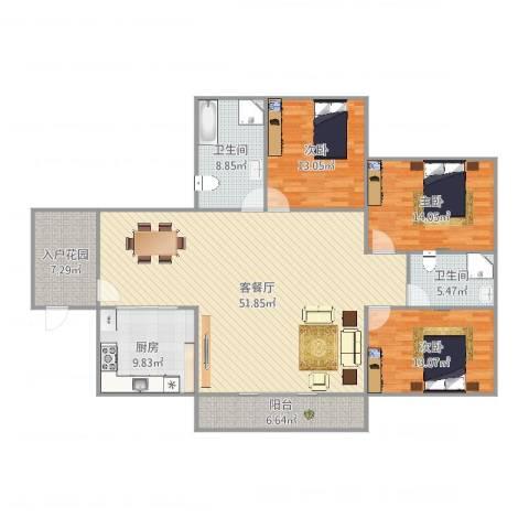 航天佳苑B13室2厅2卫1厨173.00㎡户型图