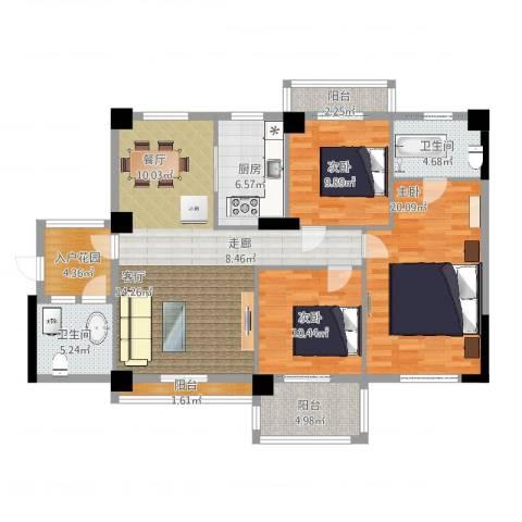 统建水岸人家3室2厅2卫1厨146.00㎡户型图