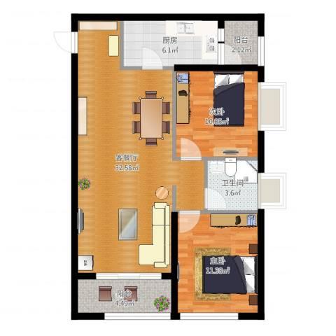万象上东2室2厅1卫1厨88.00㎡户型图