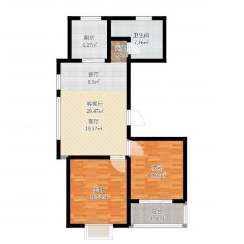 阳光海岸2室2厅1卫1厨98.00㎡户型图