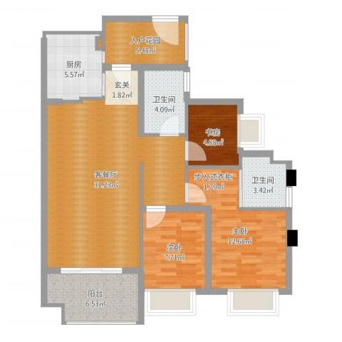 联发滨海名居3室2厅2卫1厨102.00㎡户型图