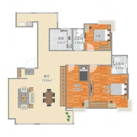 紫东嘉园3室1厅2卫1厨165.00㎡户型图