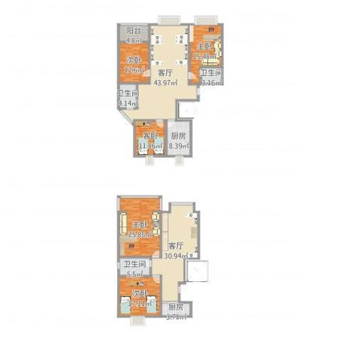 石铁家园5室2厅3卫2厨233.00㎡户型图