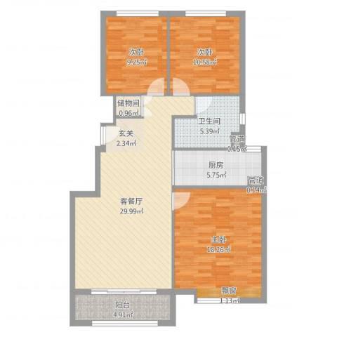 海亮公馆3室2厅1卫1厨107.00㎡户型图