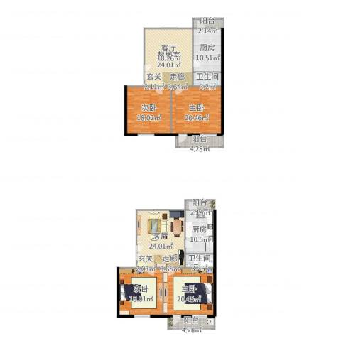 东方豪园4室1厅2卫2厨207.00㎡户型图