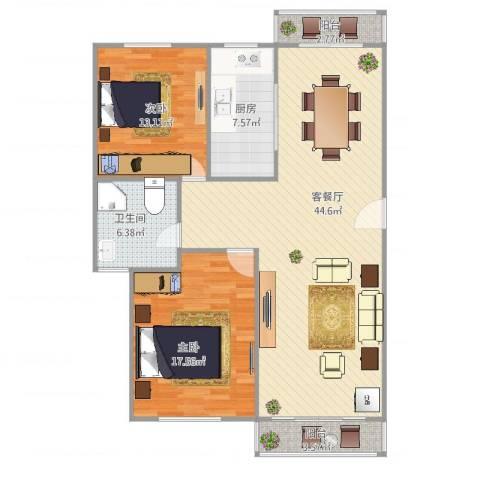 阳光星期八2室2厅1卫1厨128.00㎡户型图