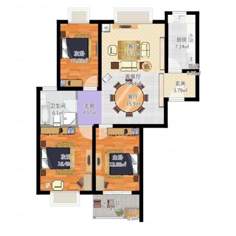 万邦都市花园3室2厅1卫1厨140.00㎡户型图