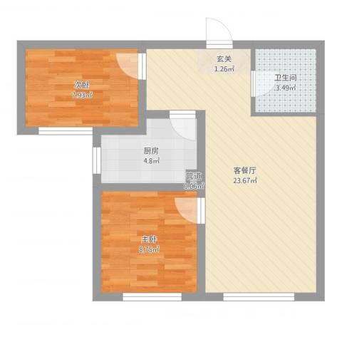 万晟幸福里2室2厅1卫1厨61.00㎡户型图