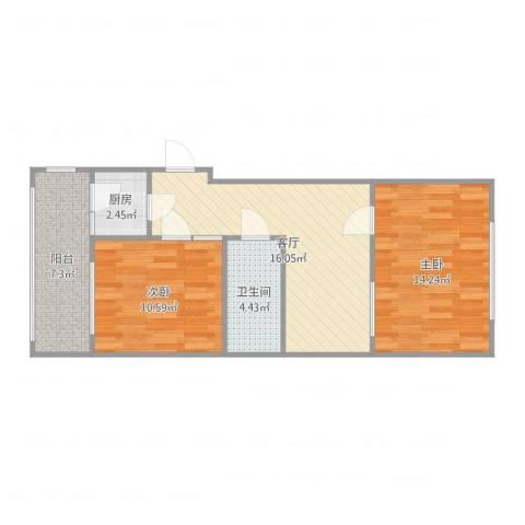石泉里2室1厅1卫1厨69.00㎡户型图
