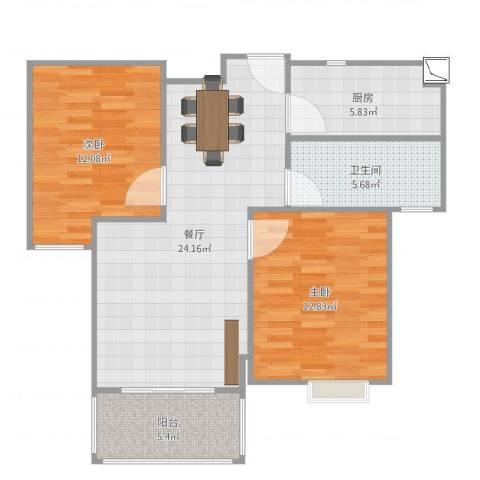 港鑫城2室1厅1卫1厨82.00㎡户型图