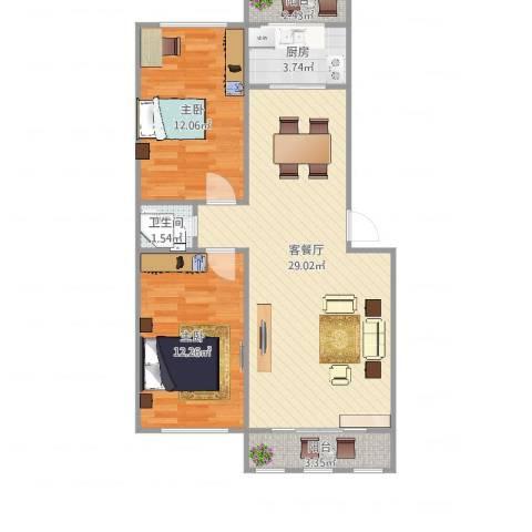 天长嘉园2室2厅1卫1厨69.63㎡户型图