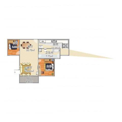 延吉东路1312室1厅1卫1厨90.00㎡户型图