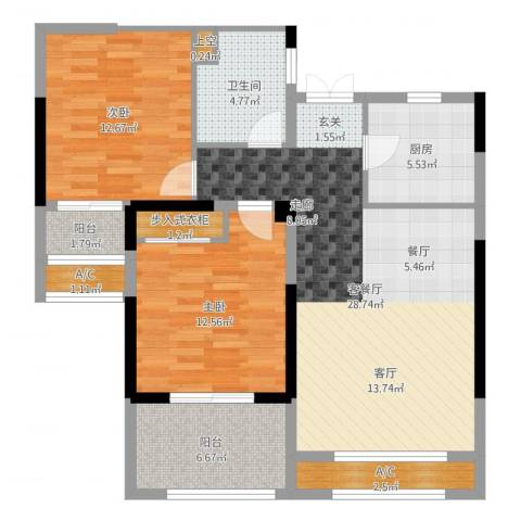 香榭一品2室2厅1卫1厨97.00㎡户型图