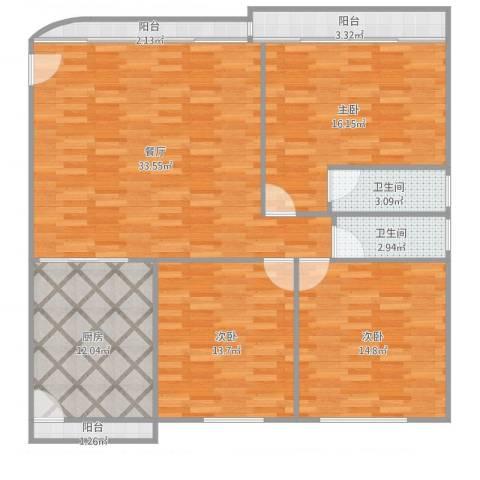 鹭江新城四期3室1厅2卫1厨129.00㎡户型图