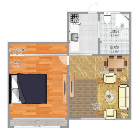 由由六村1室4厅1卫1厨58.00㎡户型图