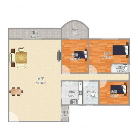 天明豪庭3室1厅2卫1厨156.00㎡户型图