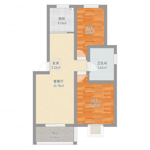 祥和至尊2室2厅1卫1厨81.00㎡户型图