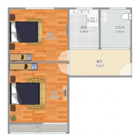 谢家宅小区2室1厅1卫1厨70.00㎡户型图