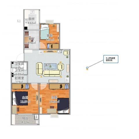 康华小区3室2厅2卫1厨96.00㎡户型图