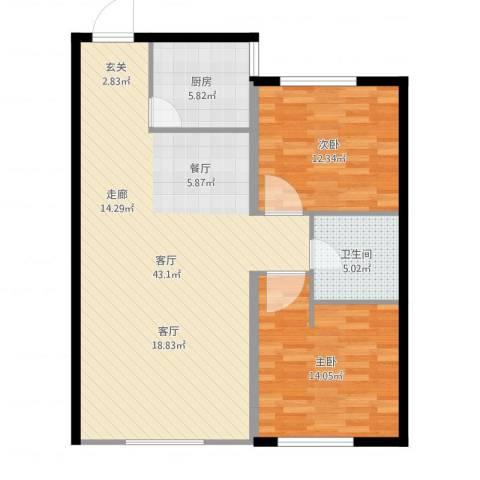 金域明珠2室1厅1卫1厨100.00㎡户型图