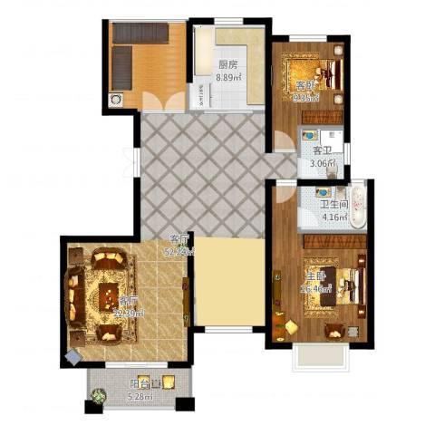 金桥普林斯顿2室1厅1卫2厨136.00㎡户型图