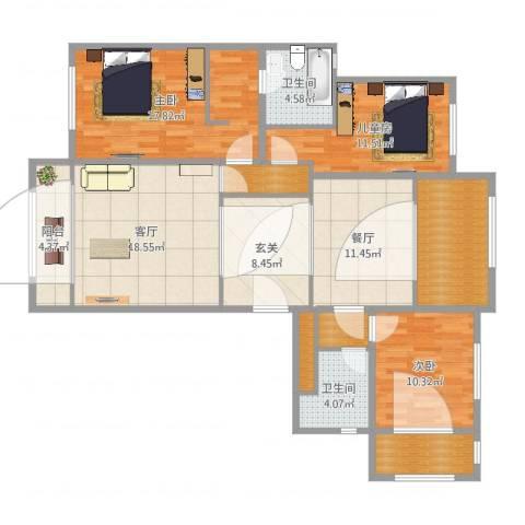领袖翡翠山-1号楼户型-客户汤女士3室2厅4卫1厨135.00㎡户型图