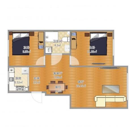 其仕盛和祥2室1厅1卫1厨70.00㎡户型图