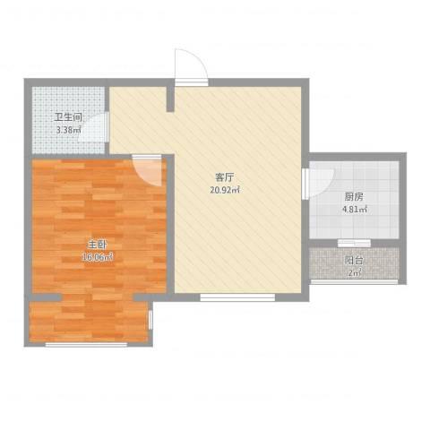 中环福境1室1厅1卫1厨66.00㎡户型图
