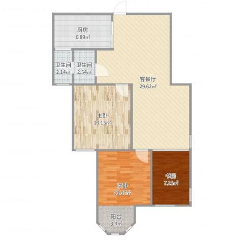 国金华府3室2厅2卫1厨101.00㎡户型图