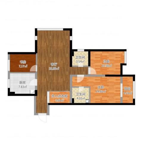 开元翡翠湾3室1厅2卫1厨116.00㎡户型图