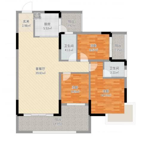 翁江新城3室2厅2卫1厨133.00㎡户型图